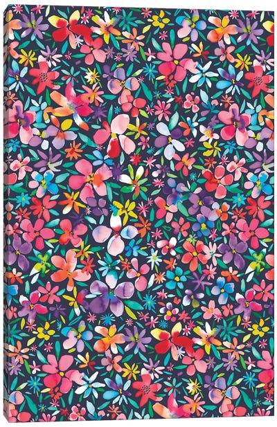 Colorful Flowers Petals Navy Canvas Art Print