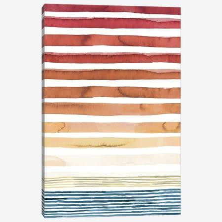Summer Sunset Watercolor Stripes Canvas Print #NDE251} by Ninola Design Canvas Art