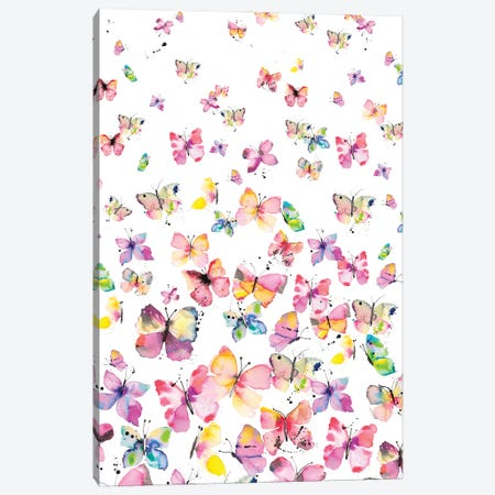 Watercolor Beautiful Butterflies Canvas Print #NDE254} by Ninola Design Art Print