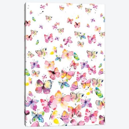 Watercolor Beautiful Butterflies Canvas Print #NDE254} by Ninola Design Art Print