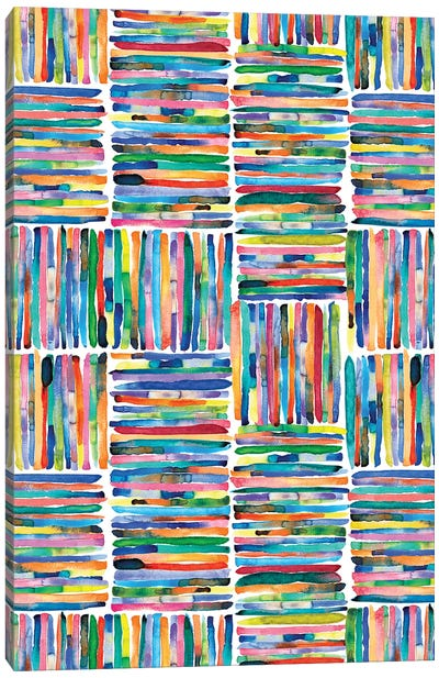 Watercolor Colorful Handpainted Stripes Canvas Art Print
