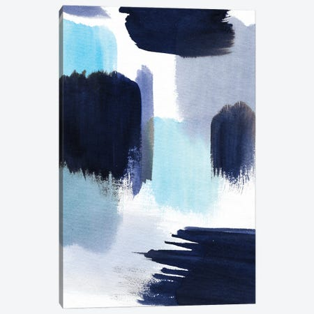 Watercolor Indigo Strokes Canvas Print #NDE257} by Ninola Design Art Print