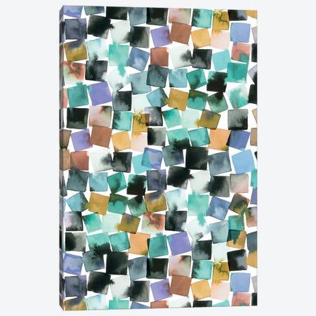 Watercolor Plaids Blue Aqua Canvas Print #NDE259} by Ninola Design Canvas Art