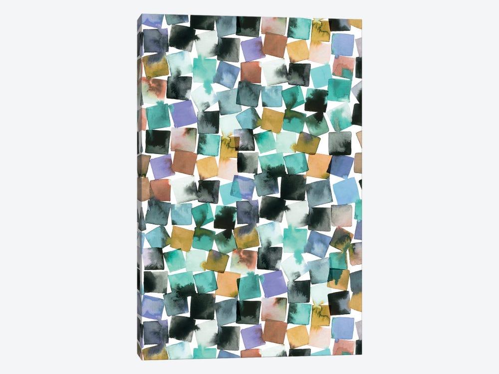 Watercolor Plaids Blue Aqua by Ninola Design 1-piece Canvas Print