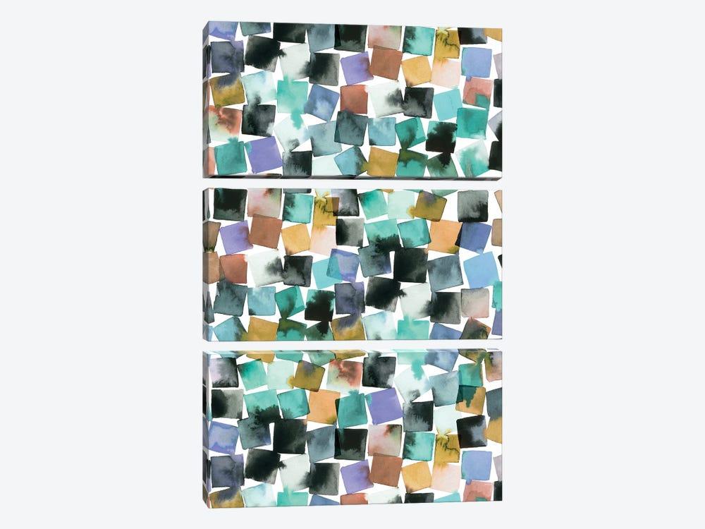 Watercolor Plaids Blue Aqua by Ninola Design 3-piece Canvas Print
