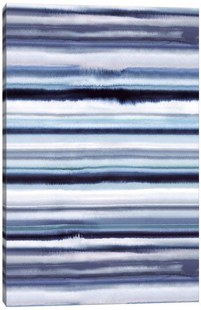Degrade Ombre Stripes Blue Canvas Art Print