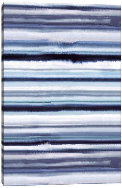 Degrade Ombre Stripes Blue Canvas Art Print