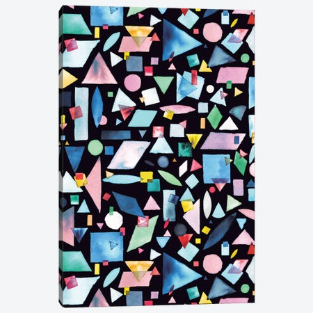 Geometric Pieces Colorful Canvas Print #NDE35} by Ninola Design Canvas Artwork
