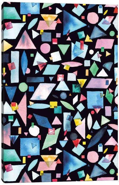 Geometric Pieces Colorful Canvas Art Print