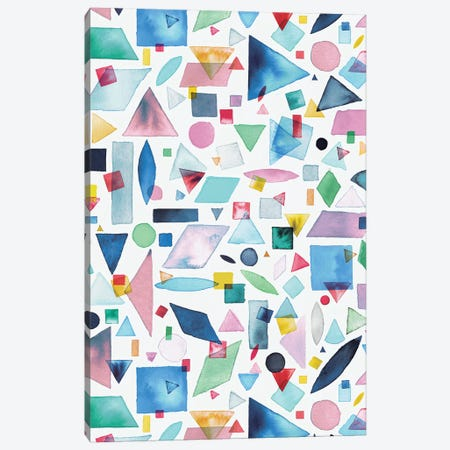Geometric Pieces Multi Canvas Print #NDE36} by Ninola Design Canvas Art