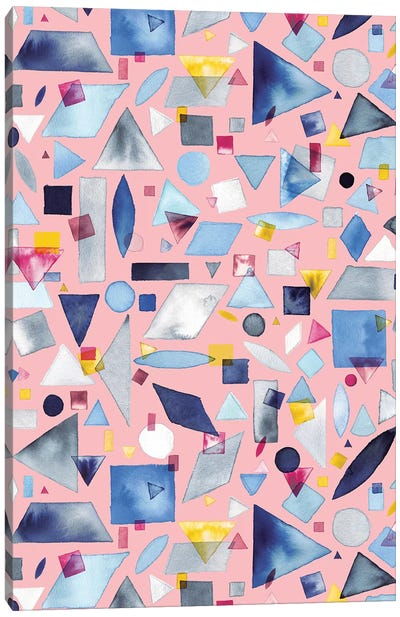 Geometric Pieces Pink Canvas Art Print