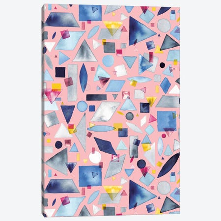 Geometric Pieces Pink 3-Piece Canvas #NDE37} by Ninola Design Canvas Artwork