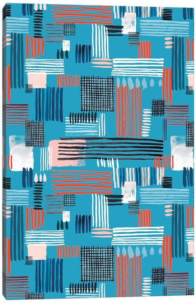 Geometric Stripy Stitches Canvas Art Print