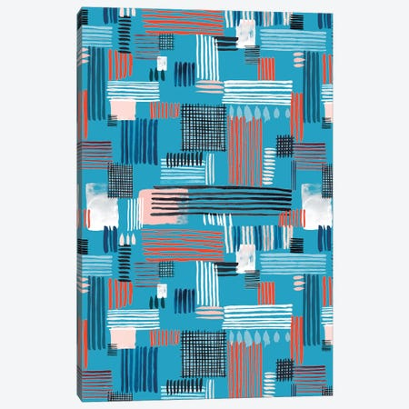 Geometric Stripy Stitches Canvas Print #NDE38} by Ninola Design Art Print