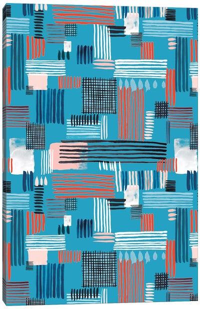 Geometric Stripy Stitches Canvas Art Print