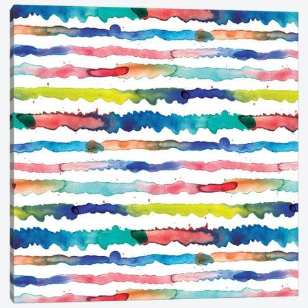 Gradient Watercolor Lines Blue Canvas Print #NDE39} by Ninola Design Canvas Print