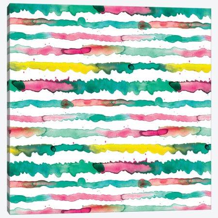 Gradient Watercolor Lines Green Canvas Print #NDE40} by Ninola Design Canvas Art