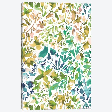 Green flowers and plants ivy Canvas Print #NDE44} by Ninola Design Canvas Art Print