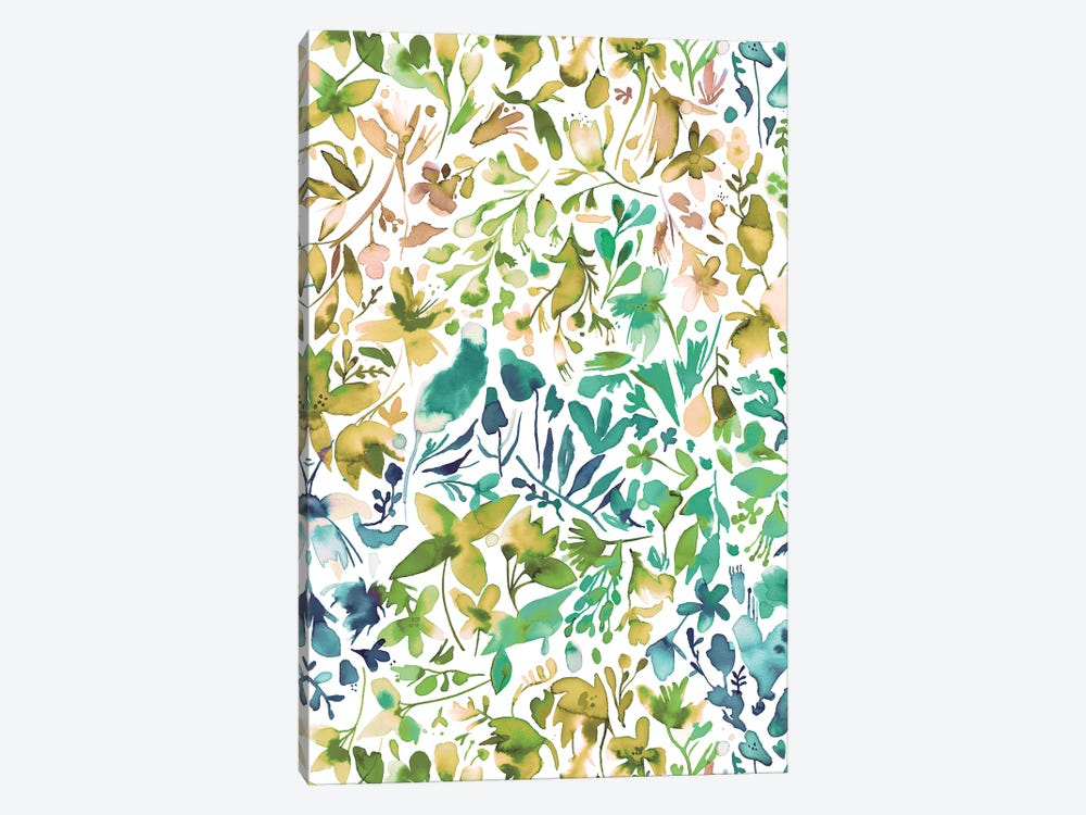 Green flowers and plants ivy by Ninola Design 1-piece Canvas Art Print