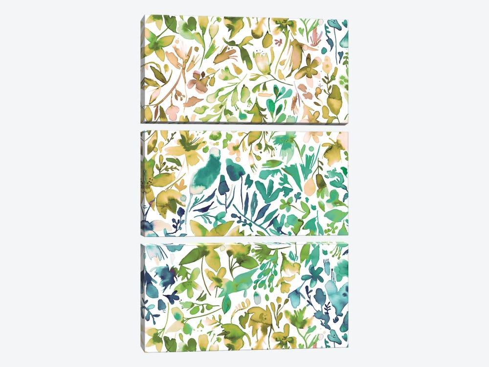Green flowers and plants ivy by Ninola Design 3-piece Canvas Art Print