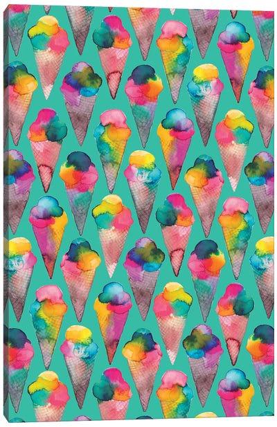 Ice Cream Cones Green Canvas Art Print