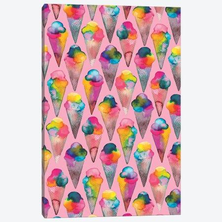 Ice Cream Cones Pink Canvas Print #NDE49} by Ninola Design Canvas Art