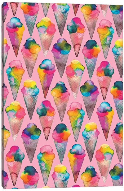 Ice Cream Cones Pink Canvas Art Print