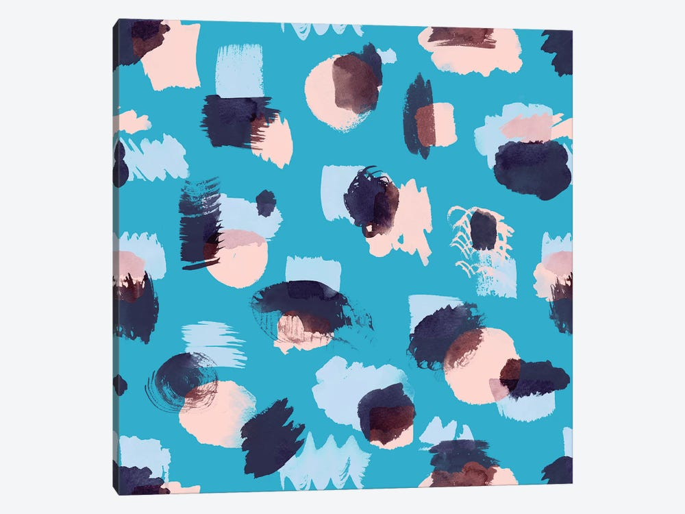 Abstract Stains Blue by Ninola Design 1-piece Canvas Artwork