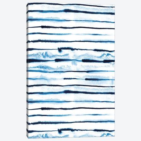 Indigo Electric Ink Stripes Canvas Print #NDE50} by Ninola Design Art Print