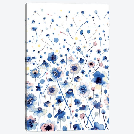 Ink Flowers Blue Canvas Print #NDE52} by Ninola Design Canvas Print