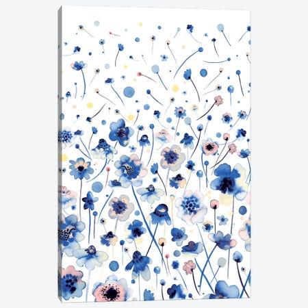 Ink Flowers Blue Canvas Print #NDE52} by Ninola Design Canvas Print