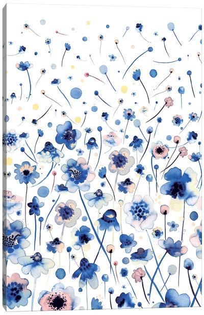 Ink Flowers Blue Canvas Art Print