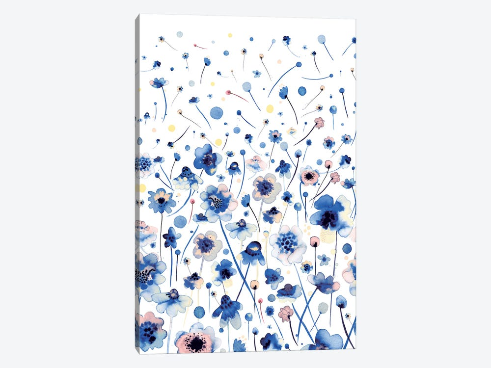 Ink Flowers Blue by Ninola Design 1-piece Canvas Art