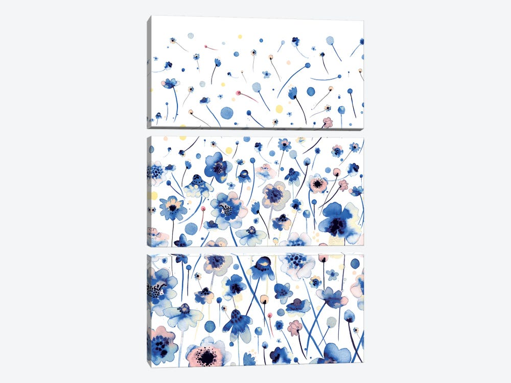 Ink Flowers Blue by Ninola Design 3-piece Canvas Wall Art