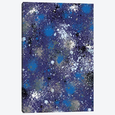 Ink Splatter Dust Electric Blue Canvas Print #NDE55} by Ninola Design Canvas Wall Art