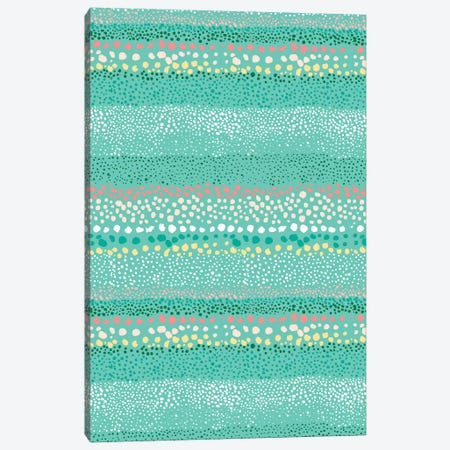 Little Textured Dots Green Canvas Print #NDE57} by Ninola Design Canvas Art
