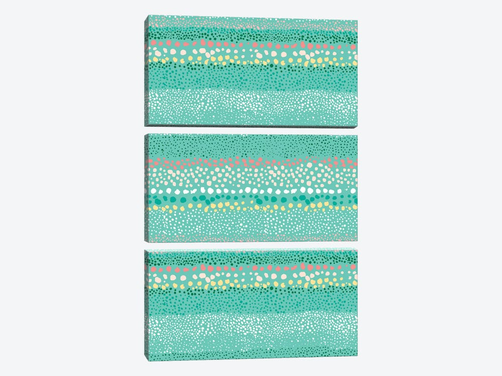 Little Textured Dots Green by Ninola Design 3-piece Art Print