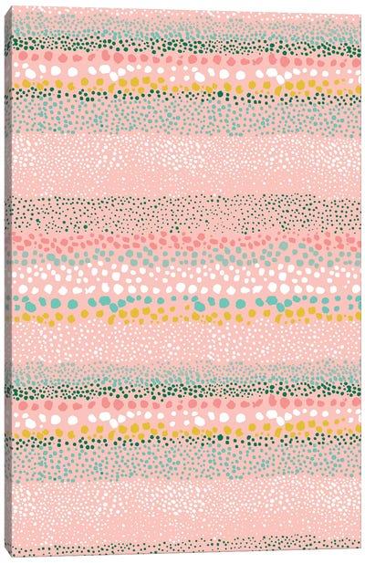Little Textured Dots Pink Canvas Art Print