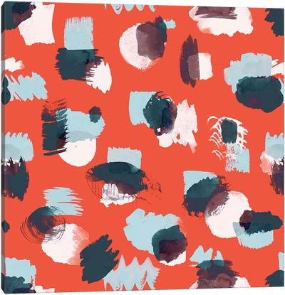 Abstract Stains Coral Canvas Art Print