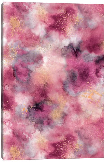 Marble Watercolor Gold Pink Canvas Art Print