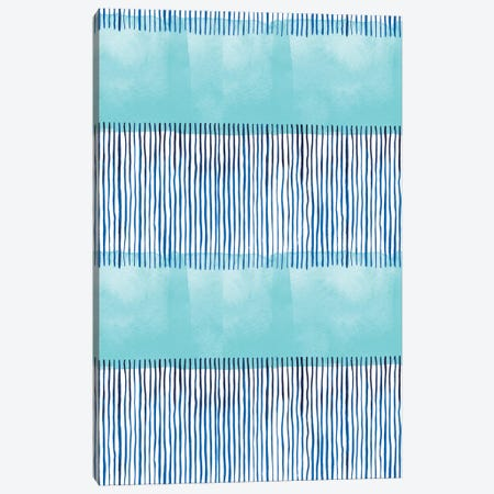 Minimal Stripes Blue Canvas Print #NDE67} by Ninola Design Canvas Print