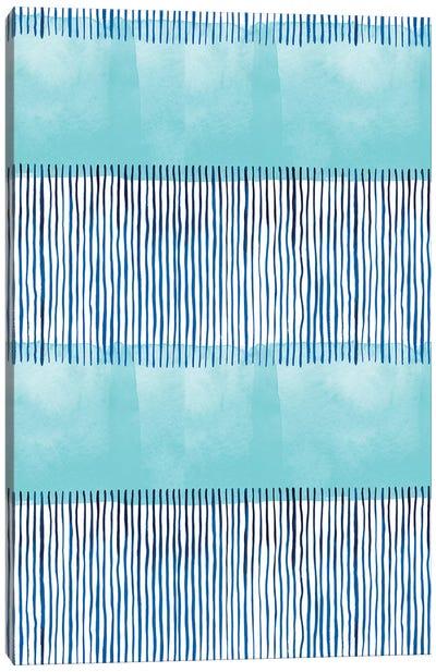Minimal Stripes Blue Canvas Art Print