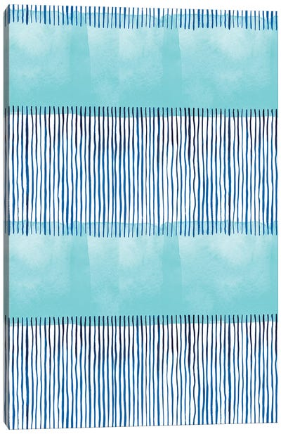Minimal Stripes Blue Canvas Art Print