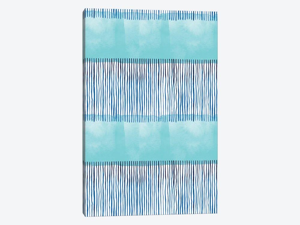Minimal Stripes Blue by Ninola Design 1-piece Canvas Art