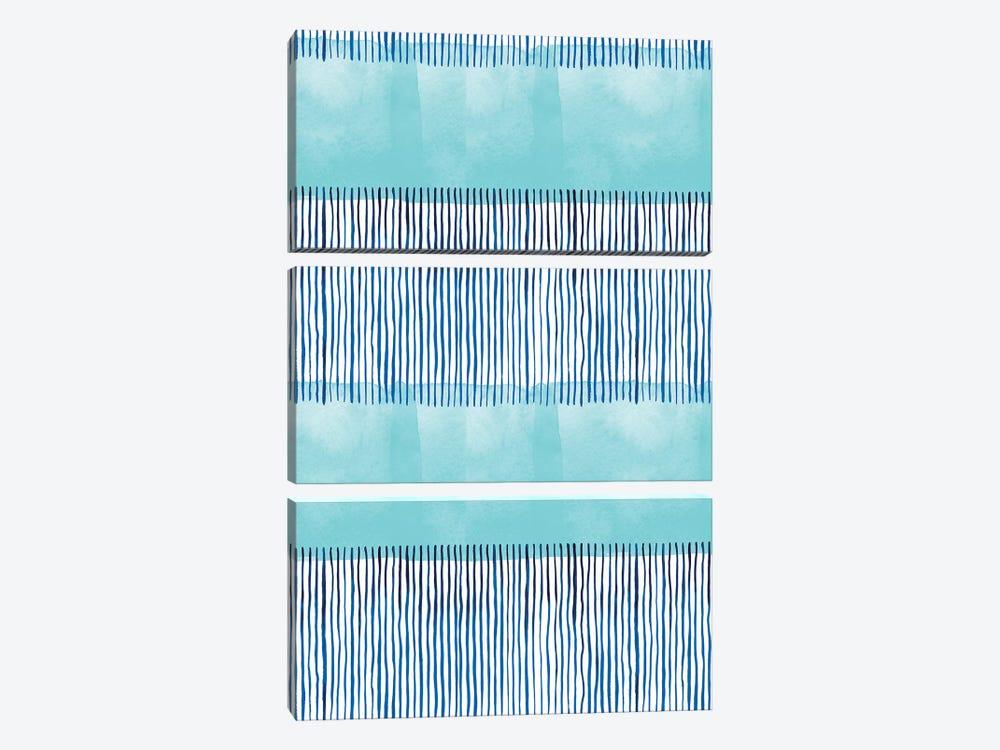 Minimal Stripes Blue by Ninola Design 3-piece Canvas Artwork