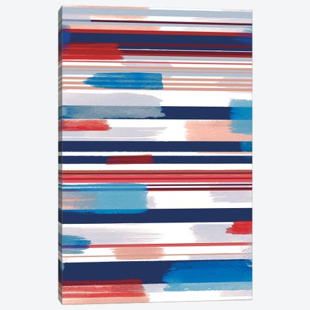 Modern Marine Stripes Red Canvas Print #NDE69} by Ninola Design Canvas Artwork