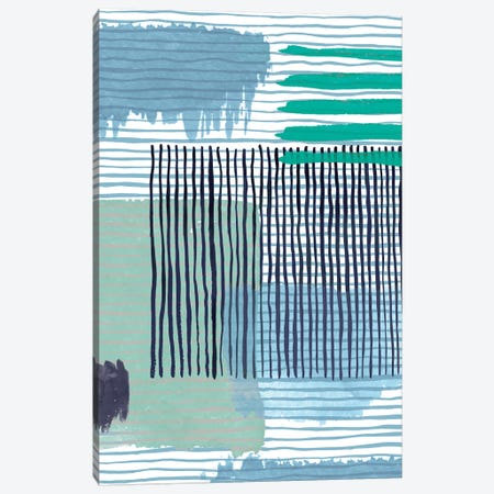 Abstract Striped Geo Green Canvas Print #NDE6} by Ninola Design Canvas Artwork