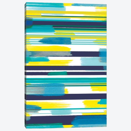 Modern Marine Stripes Yellow Canvas Print #NDE70} by Ninola Design Canvas Art Print