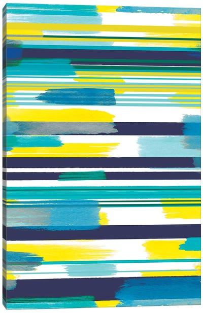 Modern Marine Stripes Yellow Canvas Art Print