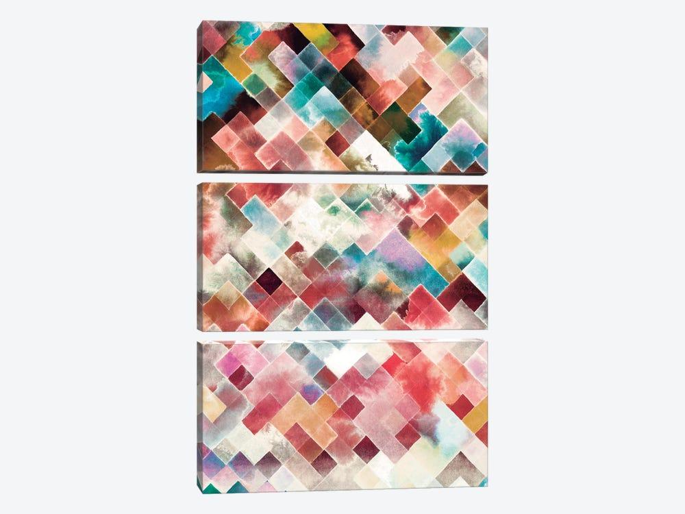 Moody Geometry Pink by Ninola Design 3-piece Canvas Art Print